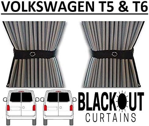 Just Kampers Paire de rideaux occultants pour porte arri/ère de grange double porte compatible avec VW T5 T6 Transporter