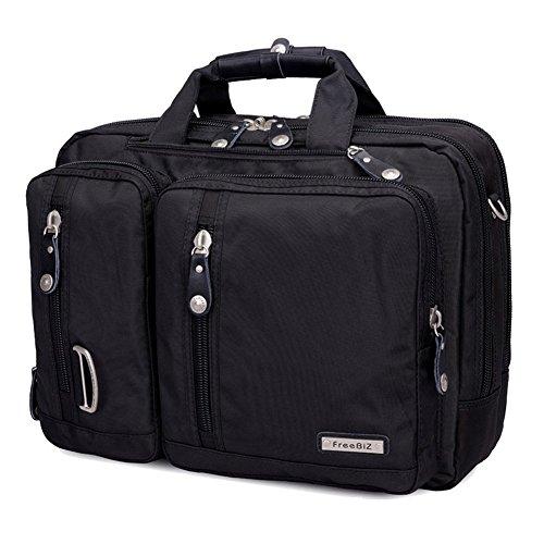 FreeBiz 17-Zoll-Laptop-Tasche Multifunktions -Laptop-Aktenkoffer -Rucksack mit Tragegriff und Schultergurt Passend bis zu 17,3-Zoll-Laptop / Notebook / MacBook / Chromebook für Dell, Asus, Msi (17,3 Zoll, Schwarz)