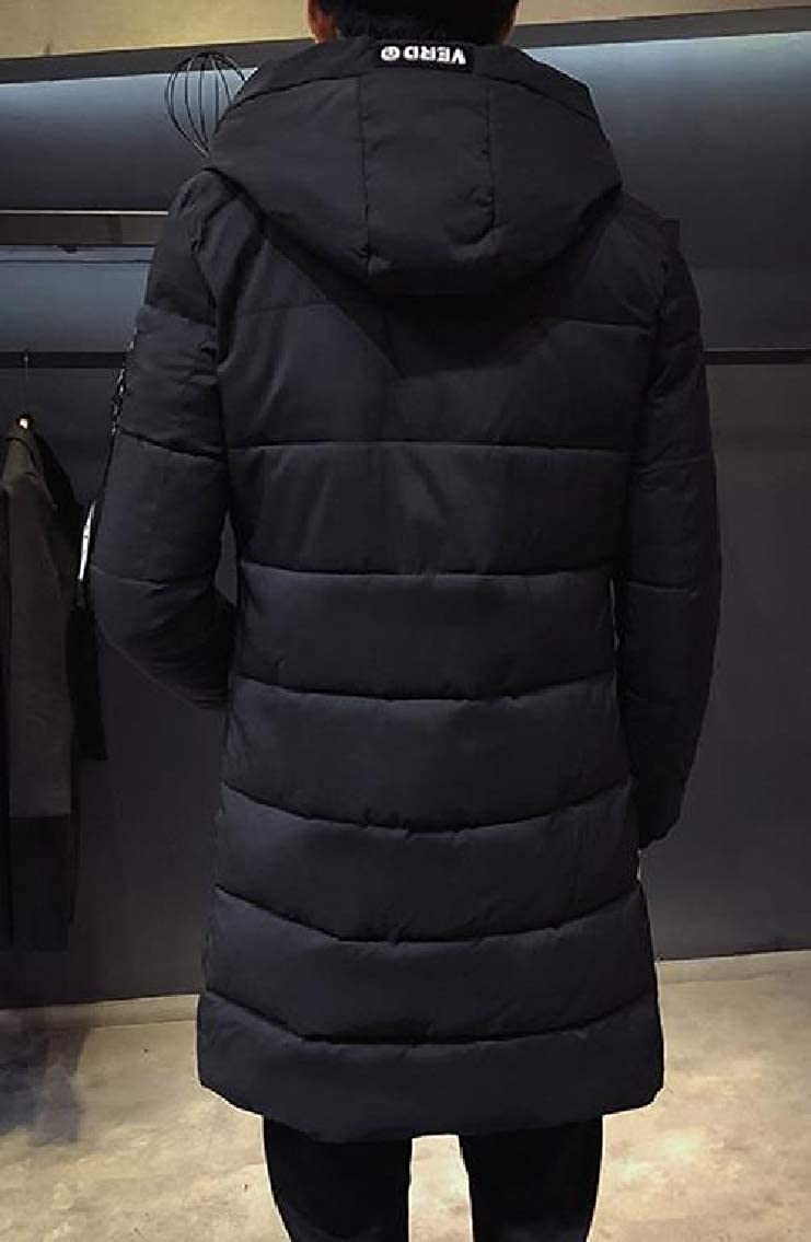 FreelyMen Hooded Quilted Fall Winter Puffer Mid-Long Thicken Parka Jacket