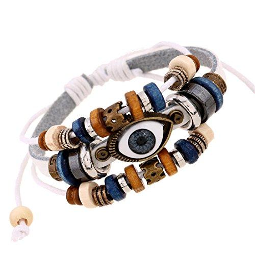 Handmade Color Turkish Eye Leather Adjustable Bracelet Wristband Bijouterie Unisex Girls Woman+Gift Bag(White)