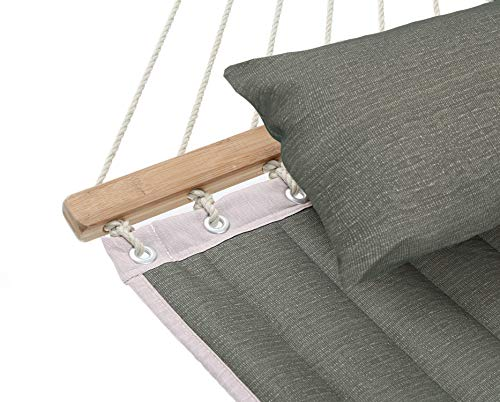 Garden and Outdoor Patio Watcher 11 Feet Quilted Fabric Hammock with Pillow Double 2 Person Hammock with Bamboo Spreader Bars, Perfect for… hammocks