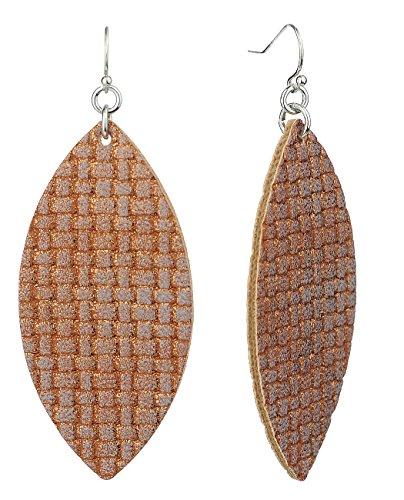 - Women's Faux Leather Textured Pattern Elongated Oval Dangle Pierced Earrings, Metallic Brown