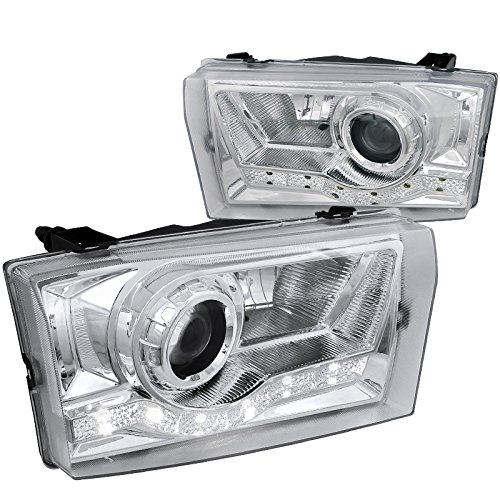Spec-D Tuning LHP-F25099-RS Ford F250/350/450/550 Super Duty Chrome SMD LED DRL Projector Headlights - Excursion Projector Headlights