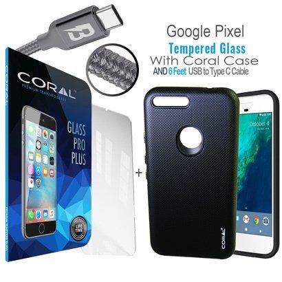 low priced be3b3 de0cc Amazon.com: Coral Bundle Google Pixel XL Dual Layer rubberized case ...