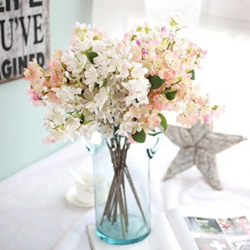 Artificial Flowers, Fake Flowers Silk Artificial Cherry Blossom Bridal Wedding Bouquet for Home Garden Party Wedding Decoration 3pcs (White & Light Pink) ...