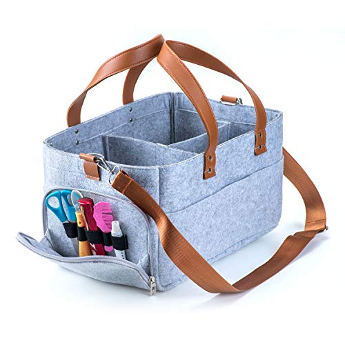 Baby Diaper Caddy, Nursery Diaper Tote Bag, Large Portable Car Travel Organizer, Boy Girl Diaper Storage Bin for Changing Table, Baby Shower Gift Basket, Newborn Registry Must Haves, 15″x10″x9″