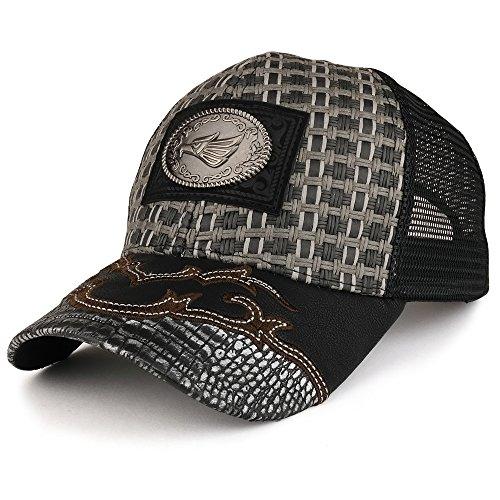Trendy Apparel Shop Straw Design Metallic Hecho EN Mexico Eagle Metal Logo Mesh Baseball Cap
