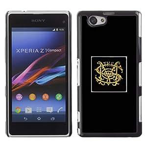 S M oro Iniciales Cartel Negro minimalista- Metal de aluminio y de plástico duro Caja del teléfono - Negro - Sony Xperia Z1 Compact / Z1 Mini (Not Z1)