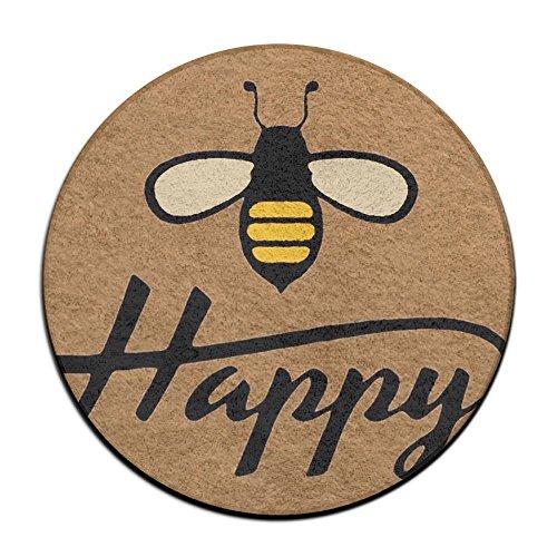 Waterproof Bee Happy Round Splash Splat Mat For Under High Chair Floor Protector Cover 23.6