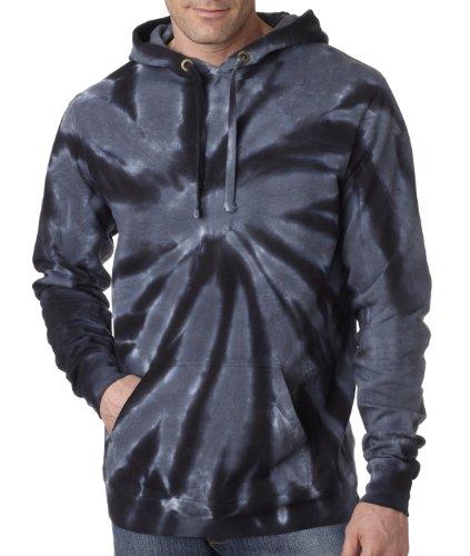 The Adult Tie-Dye Hooded Sweatshirt (Black) (Large)