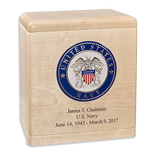 Maple Wood Military Cremation Urn for the Navy Veteran with Custom Inscription - Personalized Wooden Funeral Urns Made in the USA (more options available)