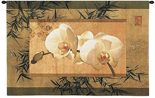 Bamboo and Orchids I by Ives McColl | Woven Tapestry Wall Art Hanging | Contemporary Asian Earthy Floral Artwork | 100% Cotton USA Size 39x26