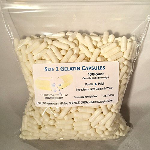 PurecapsUSA Size 1 1,000 Fillable White Gelatin -