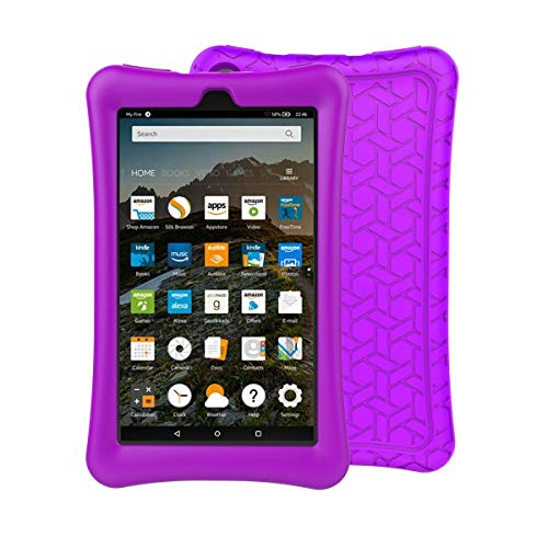 BMOUO Silicone Case for All-New Amazon Fire 7 Tablet (7th & 9th Generation, 2017&2019 Release) - [Upgraded Comb Version] [Kids Friendly] Light Weight [Anti Slip] Shock Proof Protective Cover, Purple