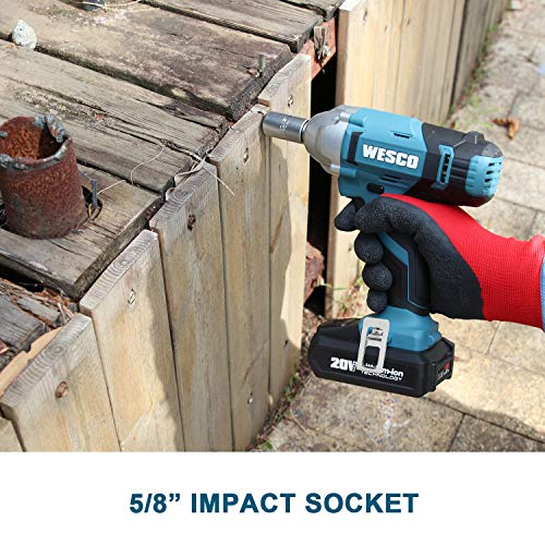 WESCO 20V Cordless Impact Wrench, 1/2-inch, 1602In-lbs Max Torque, 2.0Ah Li-ion Battery with Charger, 3000 Max IPM, 2400 Max RPM, Impact Sockets, Belt Clip for Easy Carrying/WS2905U