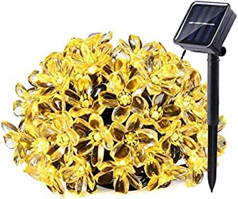 Solar String Lights, 22ft 50 LED Waterproof Cherry Blossom Solar Flower String Lights for Indoor/Outdoor,Patio,Garden,Xmas,Holiday,Festivals Decorations (Warm White)