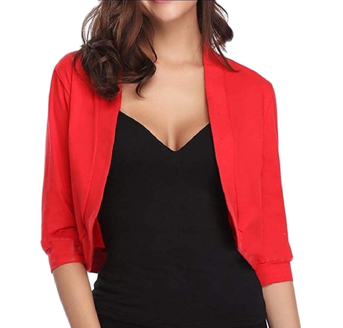 YUNY Womens Overcoat Small Blazer Shirt Outwear Pure Color Blazer Jacket Red S