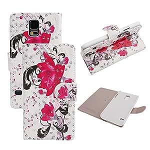 VAMVAZ Beautiful Bling Hot Pink Flower Design Magnetic PU Leather Wallet Stand Flip Case Cover Skin For Samsung Galaxy S5 V i9600