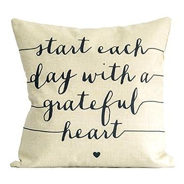 American Flat  Start Each Day With A Grateful Heart  Pillow by Brett Wilson, 18  x 18