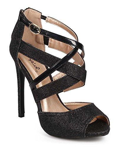 Qupid DF93 Women Glitter Peep Toe Criss Cross Stiletto Heel Sandal - Black (Size: 9.0)