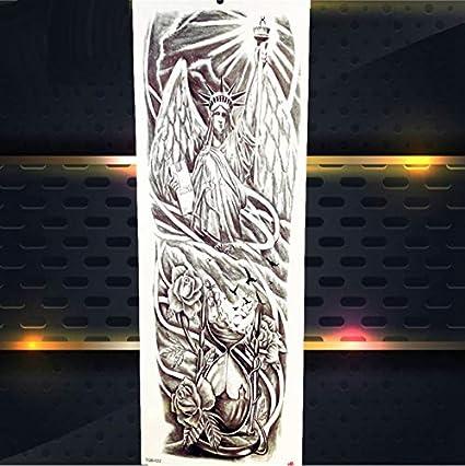 yyyDL Flor azul tigre grande tatuaje temporal hombres máscara león ...