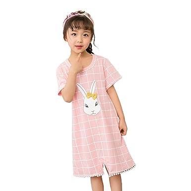 4e82d3fe1f Amazon.com  Digirlsor Little Girls Princess Nightgown Summer Cotton  Nightdress Pajamas