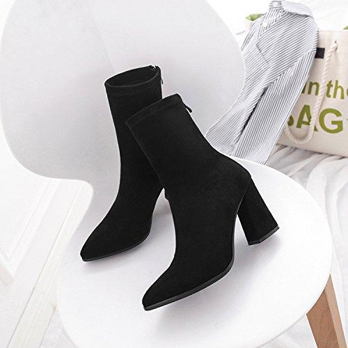 Liuxc High Heels Hochhackige Martin Stiefel, PU dick mit den mittleren Stiefeln, weibliche Spitze Stiefel, High Heels