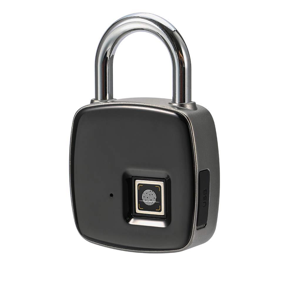 Cadenas d'empreinte digitale, Smart sans clé Cadenas étanche USB rechargeable Verrou de porte, convient pour numéro de porte, Valise, Sac à dos, gym, vélo, bureau convient pour numéro de porte Sac à dos vélo Highwinner
