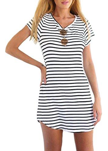 Da Bianca Manica Strisce Jaycargogo Girocollo Vestito Donna T shirt Corta Casuale A xXPXzqwfa