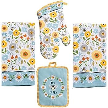 Kay Dee 4 Piece Kitchen Set - 2 Terry Towels, Oven Mitt, Potholder (Garden Bee)