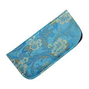 Soft Slip In Eyeglass Case For Women - Floral & Paisley Brocade in Blue