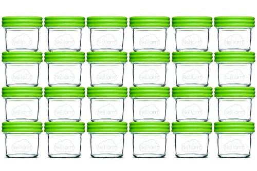 Nellam Baby Food Storage Containers – Leakproof, Airtight, Glass Jars for Freezing & Homemade Babyfood Prep – Reusable, BPA Free, 24 x 4oz Set, that is Microwave & Freezer Safe