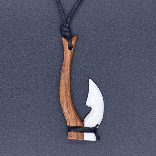 - Davitu 1PC Hawaii Style Handmade Carved Ox Bone & Koa Wood Fishhook Pendant Womens Man's Necklace Fashion Surfer Choker - (Metal Color: Style A)