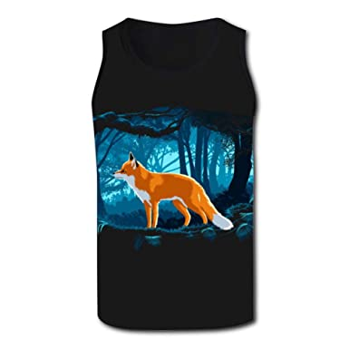 25a45dc4c06d Fox in The Forest Mens Tank Top Vest Shirts Singlet T Shirt Sleeveless  Underwaist for Basketball at Amazon Men s Clothing store