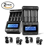 Zanflare C4 LCD Display Speedy Universal Battery Charger, Smart Charger for Rechargeable Batteries Ni-MH Ni-Cd A AA AAA SC, Li-ion 18650 26650 26500 22650 18490 17670 17500(2 Pack)