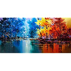 Autumn colorful Trees Forest Lake Canvas Print oil Paintings For Wall And Home Décor Office Abstract Wall Art Modern Unfarmed (24x48 inch)