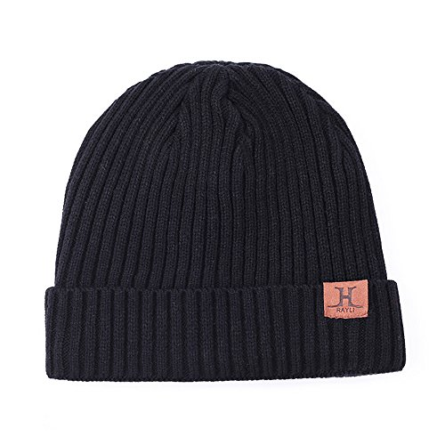 (Mens Winter Hat,Baiyu Warm Knit Hat Thick Skull Cap with Soft Lining Ribbed Thermal Beanie Hat-Black)