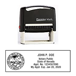 Nevada notary self-inking rubber stamp. Your personalized notary stamp will be made to exceed Nevada state regulations. Self-inking rubber stamp is great for repetitive stamping and will come with thousands of initial impressions. Best of all your no...
