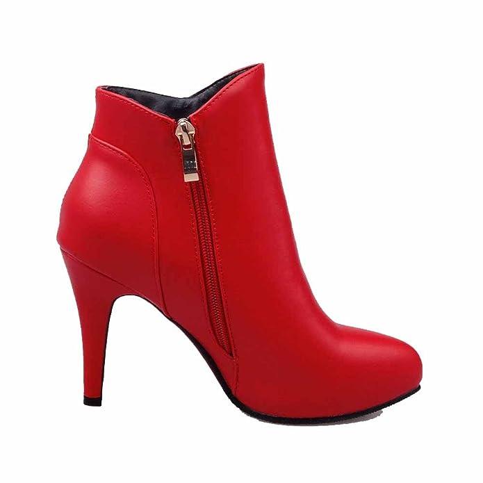 AgooLar Damen Hoher Absatz Niedrig-Spitze Rein Reißverschluss Stiefel, Rot, 36