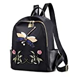 Oxford cloth shoulder bag girls backpack three-dimensional animal embroidery fashion soft surface backpack,black