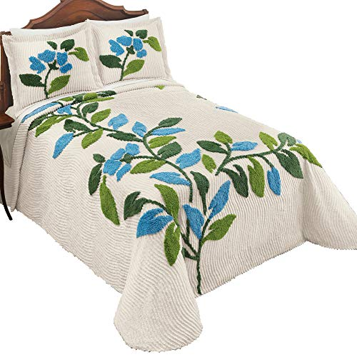 Collections Etc Sonesta Chenille Tufted Floral Bedspread, Ivory Background with Blue Flowers and Greenery - Seasonal Bedroom Décor, King