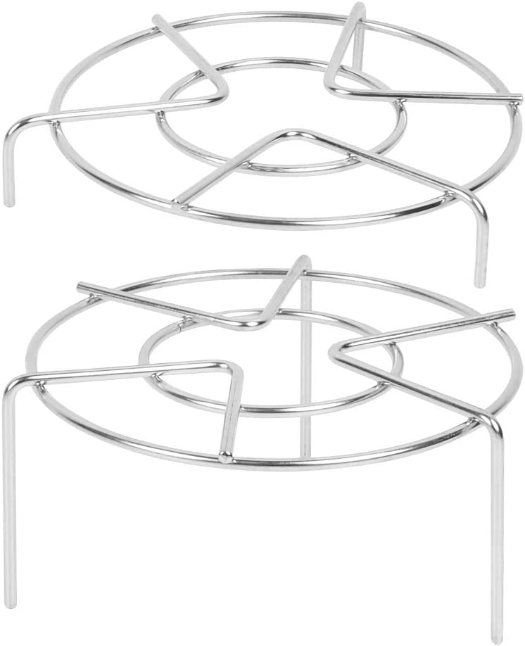 Set of 2, Stainless Steel Trivet Rack Stand, QLOUNI 2 Sizes Heavy Duty Pressure Cooker Steam Rack, Steaming Rack, Pot Pan Cooking Stand- 1.2 Inch, 3 Inch