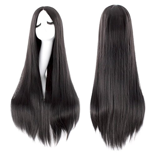 iLoveCos Women's Black Long Wig Cosplay Halloween Costume Wigs 32 inch - Halloween Different Costumes