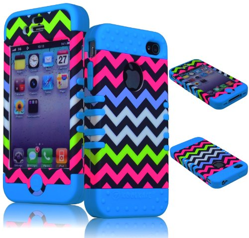 Bastex BasTexWireless High Impact Hybrid Rocker Case for Apple iPhone 4, 4s - Sky Blue Silicone with Pink, Blue, White, Green Neon Colored Chevron Design Hard Shell 4s White Hard Case