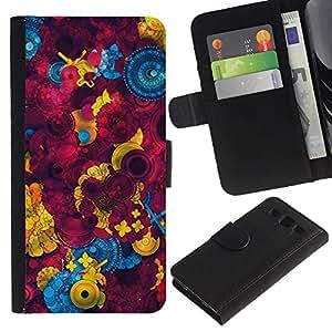 UberTech / Samsung Galaxy S3 III I9300 / Button Sewing Abstract Maroon / Cuero PU Delgado caso Billetera cubierta Shell Armor Funda Case Cover Wallet Credit Card