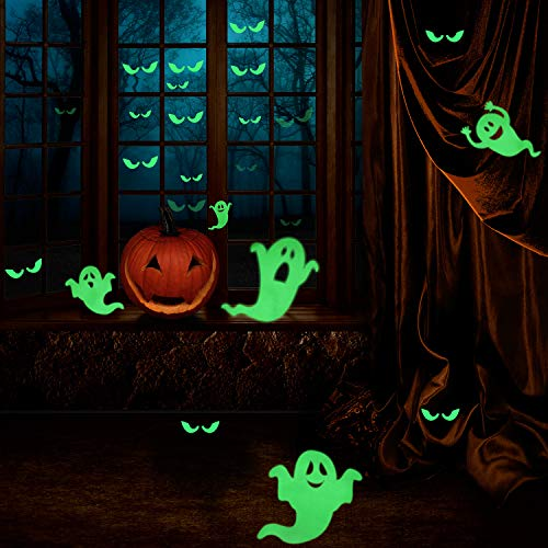 Boao 42 Pieces Luminous Ghost Pattern Wall Sticker Fluorescent Sticker Decorative Night Glow Decals Spooky Wall Stickers Decorations for Halloween Themed Party -