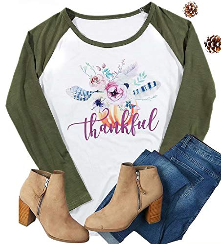UNIQUEONE Thankful Feather T-Shirt Women Thanksgiving Raglan Long Sleeve Baseball Tee Tops Blouse Size L (Green)