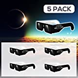 Solar Eclipse Glasses by Agora Select - (5 Pack) - CE and ISO Certified Safe Shades Safety Glasses Eye Protection for Direct Sun Viewing Total Eclipse - August 21,2017 - Includes Map On The Glasses!
