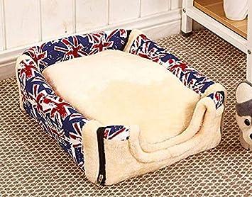 Queta Rice Bandera Doble Uso Nido extraíble y Lavable Perro caseta portátil Mascota casa Gato casa Mascota Nido Mascotas Suministros M:45 * 35cm Vintage ...