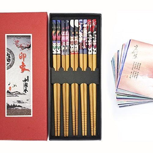 Chopsticks, Reusable 5 Pairs Natural Bamboo Lightweight, Gift Set with Case Postcard Bonus (Fortune Cat)